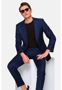 Lancerto - Garnitur Granatowy w Kratę Speedo. Kolor: niebieski. Materiał: wiskoza, wełna, tkanina, elastan, skóra, poliester