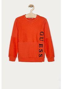 Pomarańczowa bluza Guess na co dzień, bez kaptura