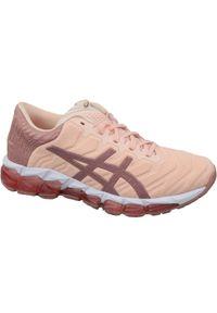 Różowe buty do biegania Asics w kolorowe wzory, z cholewką