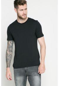 Czarny t-shirt Selected gładki, casualowy, na co dzień