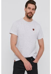 Pepe Jeans - T-shirt Gavin. Okazja: na co dzień. Kolor: szary. Wzór: aplikacja. Styl: casual