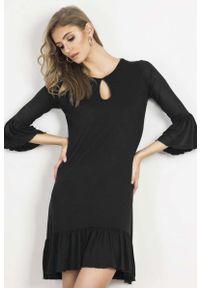 Czarna sukienka wizytowa IVON z falbankami
