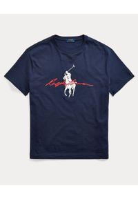 Ralph Lauren - RALPH LAUREN - Granatowy t-shirt Big Pony Custom Fit. Typ kołnierza: polo. Kolor: niebieski. Materiał: bawełna. Wzór: nadruk