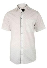 Biała elegancka koszula Jurel z klasycznym kołnierzykiem, na spotkanie biznesowe, z krótkim rękawem