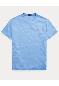Ralph Lauren - RALPH LAUREN - Niebieski t-shirt Custom Fit Soft Cotton. Typ kołnierza: polo. Kolor: niebieski. Materiał: bawełna. Wzór: haft, kolorowy #2