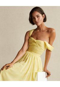 Ralph Lauren - RALPH LAUREN - Żółta sukienka na ramiączkach. Typ kołnierza: polo. Kolor: żółty. Materiał: materiał. Długość rękawa: na ramiączkach #4