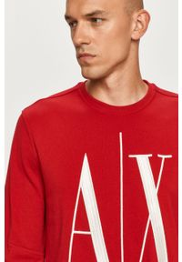 Czerwona bluza nierozpinana Armani Exchange casualowa, bez kaptura
