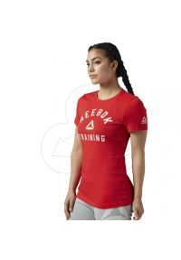 Czerwony t-shirt Reebok w kolorowe wzory