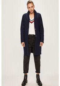 Niebieski płaszcz TOMMY HILFIGER klasyczny, z klasycznym kołnierzykiem, na co dzień
