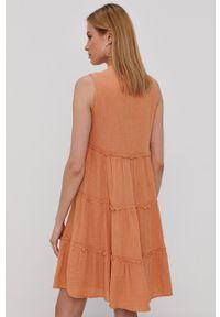 Y.A.S - Sukienka. Kolor: pomarańczowy. Materiał: tkanina, bawełna. Wzór: gładki. Typ sukienki: rozkloszowane