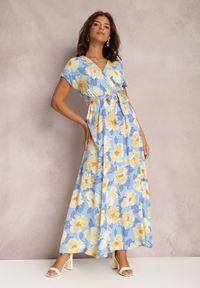 Renee - Niebieska Sukienka Helet. Kolor: niebieski. Materiał: materiał. Wzór: kwiaty, aplikacja. Typ sukienki: kopertowe. Styl: wakacyjny. Długość: maxi