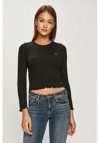 Czarna bluzka z długim rękawem Tommy Jeans casualowa, na co dzień