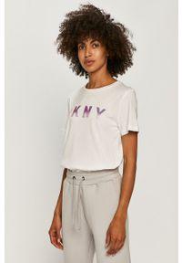 Biała bluzka DKNY casualowa, na co dzień, z okrągłym kołnierzem, z nadrukiem