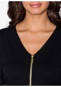Czarna bluzka bonprix z dekoltem w serek
