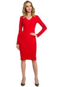 Czerwona sukienka dzianinowa MOE
