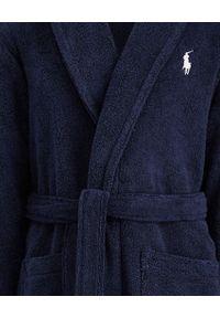 Ralph Lauren - RALPH LAUREN - Granatowy szlafrok Shawl-Collar. Typ kołnierza: kolnierz wykładany, polo. Kolor: niebieski. Materiał: bawełna. Wzór: haft