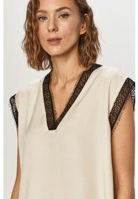 Kremowa bluzka DKNY z krótkim rękawem, krótka, na co dzień, casualowa