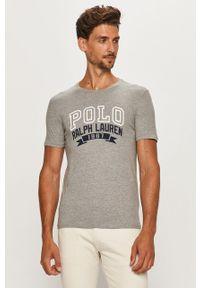 Szary t-shirt Polo Ralph Lauren z okrągłym kołnierzem, casualowy, z nadrukiem