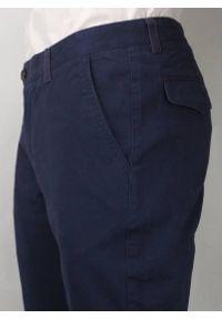Chiao - Casualowe Spodnie Męskie, 100% BAWEŁNA, Zwężane Nogawki, Chinosy, Granatowe. Okazja: na co dzień. Kolor: niebieski. Materiał: bawełna. Styl: casual