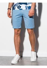 Ombre Clothing - Krótkie spodenki męskie casual W224 - błękitne - XXL. Okazja: na co dzień. Kolor: niebieski. Materiał: elastan, dzianina, bawełna, poliester. Długość: krótkie. Styl: casual