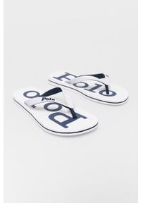 Polo Ralph Lauren - Japonki. Kolor: biały. Materiał: materiał, guma. Obcas: na obcasie. Wysokość obcasa: niski