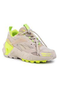 Beżowe buty sportowe Reebok na płaskiej podeszwie, z cholewką