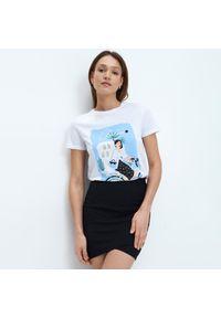 Biały t-shirt Mohito z nadrukiem