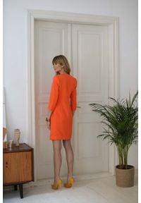 Nommo - Sukienka Żakietowa z Rękawem 3/4 - Pomarańczowa. Kolor: pomarańczowy. Materiał: wiskoza, poliester