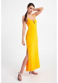 Emporio Armani Swimwear - SUKIENKA EMPORIO ARMANI SWIMWEAR. Długość rękawa: na ramiączkach. Sezon: lato. Typ sukienki: proste. Długość: maxi