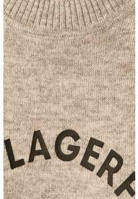 Szary sweter Karl Lagerfeld z okrągłym kołnierzem, raglanowy rękaw, z aplikacjami