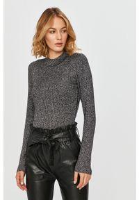 Szary sweter Calvin Klein Jeans z długim rękawem, melanż, z okrągłym kołnierzem