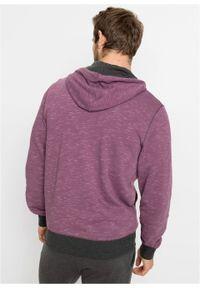 Bluza rozpinana z kapturem bonprix matowy jeżynowy melanż. Typ kołnierza: kaptur. Kolor: różowy. Wzór: melanż