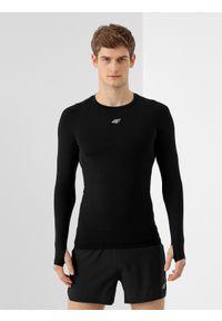 4f - Longsleeve do biegania męski. Kolor: czarny. Materiał: materiał. Długość rękawa: długi rękaw. Długość: długie