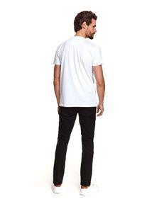Biały t-shirt TOP SECRET krótki, z nadrukiem, z krótkim rękawem