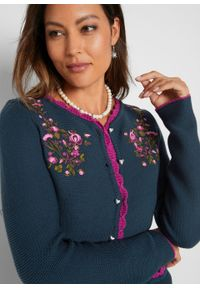 Sweter rozpinany w ludowym stylu bonprix ciemnoniebieski. Kolor: niebieski