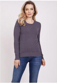 MKM - Klasyczny Sweter z Półkrągłym Dekoltem - Grafitowy. Kolor: szary. Materiał: wiskoza. Styl: klasyczny