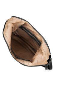 Czarna torebka worek Wittchen z aplikacjami, skórzana, casualowa, na ramię
