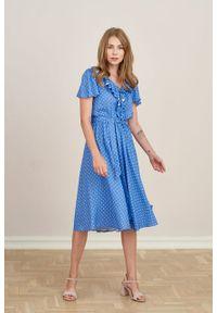 Marie Zélie - Sukienka Eulalia Trifle niebieska. Kolor: niebieski. Materiał: wiskoza. Długość rękawa: krótki rękaw. Długość: midi