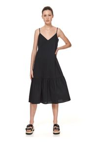 TOP SECRET - Gładka sukienka na cienkich ramiączkach z falbaną. Kolor: czarny. Długość rękawa: na ramiączkach. Wzór: gładki. Typ sukienki: koszulowe
