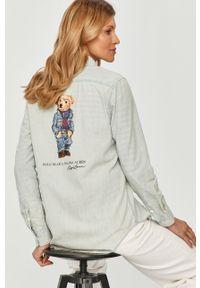 Niebieska koszula Polo Ralph Lauren z długim rękawem, z nadrukiem, na co dzień