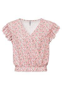 Bluzka shirtowa bonprix biało-czerwony w kwiaty. Kolor: biały. Długość: krótkie. Wzór: kwiaty