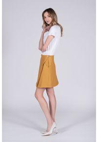 Żółta spódnica VEVA w kolorowe wzory, na wiosnę, długa