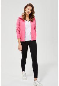 Różowa bluza MOODO z kapturem, z długim rękawem, długa