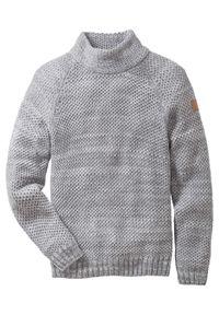 Sweter ze stójką bonprix szary melanż. Typ kołnierza: kołnierzyk stójkowy. Kolor: szary. Materiał: dzianina, materiał, akryl, skóra. Wzór: melanż