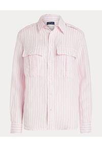 Ralph Lauren - RALPH LAUREN - Różowo-biała lniana koszula. Typ kołnierza: polo. Kolor: biały. Materiał: len. Długość rękawa: długi rękaw. Długość: długie