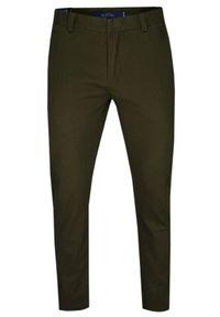 Chiao - Zielone Bawełniane Spodnie Męskie, CHINOSY -CHIAO- Casualowe, Stylowe, Oliwkowe. Okazja: na co dzień. Kolor: brązowy, wielokolorowy, beżowy, zielony, oliwkowy. Materiał: bawełna. Styl: elegancki, casual