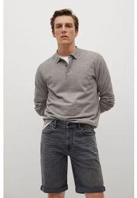 Mango Man - Szorty jeansowe Rock. Okazja: na co dzień. Kolor: szary. Materiał: jeans. Styl: rockowy