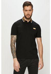 Czarna koszulka polo Hugo z nadrukiem, krótka, polo