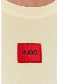 Hugo - T-shirt bawełniany. Okazja: na co dzień. Kolor: żółty. Materiał: bawełna. Wzór: gładki. Styl: casual