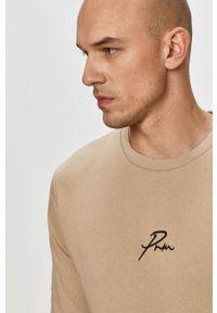 Beżowa bluza nierozpinana Jack & Jones bez kaptura, casualowa, z aplikacjami